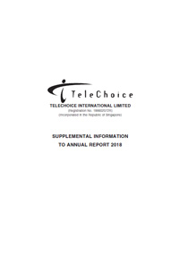 SUPPLEMENTAL INFORMATION TO ANNUAL REPORT 2018 DATED 8 APRIL 2019